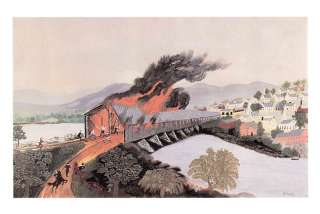 GRANDMA MOSES print Covered Bridge in Troy New York