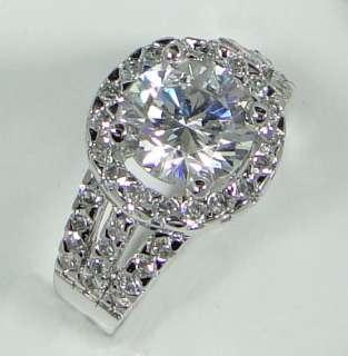 18K Platinum Plated 1.9ct Cubic Zirconia XMAS GIFT Diamond Cut Round