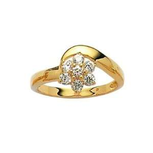 18K Gold Plated Clear Cubic Zirconia Flower Cluster Ring Jewelry