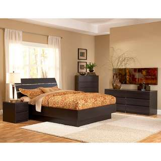 Laguna 4 Piece Full Bed, Night Stand, Dresser and Chest Set, Lacquered