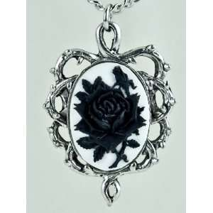 Gothic Thorn Black Rose Vine Cameo Necklace Jewelry Victorian Anime