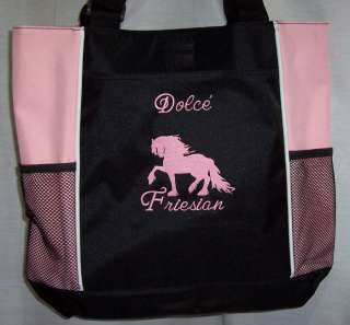 Friesian Draft Horse Pink Black Tote bag harness NEW