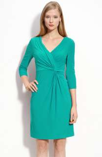 Adrianna Papell Knot Front Draped Jersey Dress