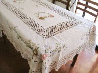 Hand Ribbon Embroidered Flower Crochet Table Cloth XL