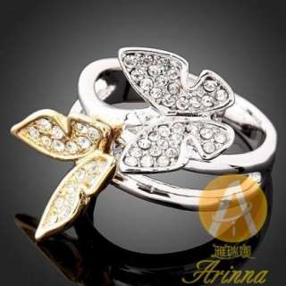 ARINNA Swarovski Crystal Butterfly Gold GP Fashion Ring