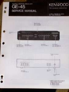 Kenwood GE 45 Graphic Equalizer Service/Parts Manual