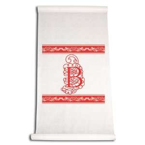 Inch Aisle Runner, Fancy Font Letter B, White with Red: Home & Kitchen
