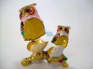 Two Owl   Swarovski Crystal diamond Jewelry Trinket Box jf3383