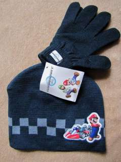 NINTENDO Mario Kart Wii 2pc Navy Knit Hat Gloves Set ages 4+