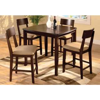 Solid Wood Walnut Finish 5 Piece Dining Table Set