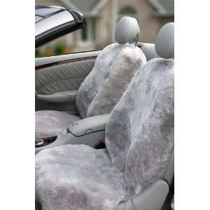 DC 4 Highback Sheepskin Seat Covers, LIGHT SILVER, Size 1