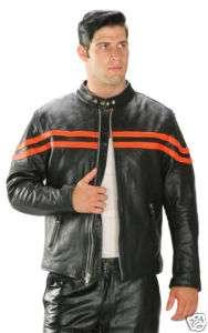 BLACK & ORANGE LEATHER MOTORCYCLE RACING JACKET 42
