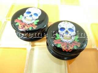 Sugar Skull Flesh Tunnels Ear Plugs Pick Size/Style #2