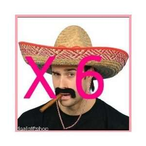... IDEALGIFTSHOP 6 X MEXICAN STRAW SOMBRERO HATS + 6 ... a6d6bccb866