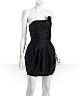 Romeo & Juliet Couture black taffeta fan pleated strapless dress