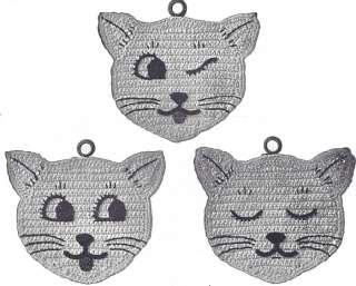 Vintage Crochet PATTERN Pot Holder Kitten Kitty Cat Mat