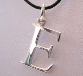 3D Silver Initial Letter Pendant Selectable Font Black Pink String