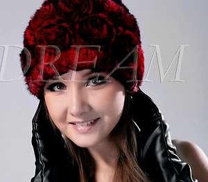 Genuine Real Rex Rabbit Fur Rose Hat Red/Silver/Brown