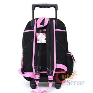 Hello Kitty Rolling Backpack Large School Roller Bag  Love Teddy Bear