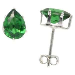 Shape 3/4 Carat Size (each) Emerald Green Cubic Zirconia Stud Earring