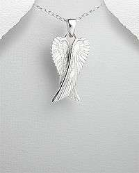 STERLING SILVER HOLY ANGEL WINGS PENDANT NECKLACE
