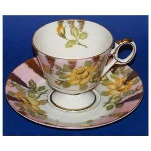 Royal Sealy China Tea Cup & Saucer Yellow Rose Pink Border Gold Luster