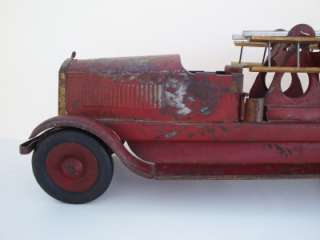 JOHN C. TURNER TOYS Fire Truck Aerial ladder Pressed Steel Toy