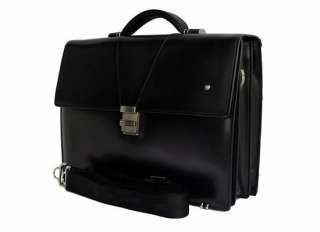 BRAND NEW BLACK MONT BLANC LEATHER BRIEFCASE BAG TRIPLE GUSSET