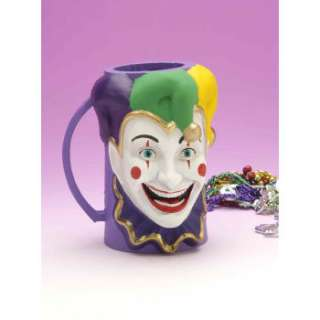 Funny MARDI GRAS COURT JESTER BEER MUG Big Clown Cup Costume Party
